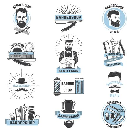 Barbershop barber cuts male haircut and barbed mustache of bearded man with razor in hipster salon  illustration set isolated on white background