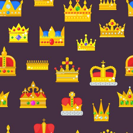 Crown golden royal jewelry symbol of king set queen princess crowning prince authority crown jeweles seamless pattern background Foto de archivo - 126974671