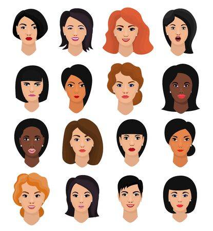 Woman portrait female character face of girl with hairstyle and cartoon person with various skin tone illustration set of beautiful facial features isolated on white background