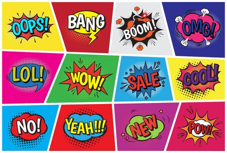 Pop art comic speech cartoon bubbles in popart style with humor text boom or bang bubbling expression asrtistic comics shapes set isolated on background illustration Stok Fotoğraf