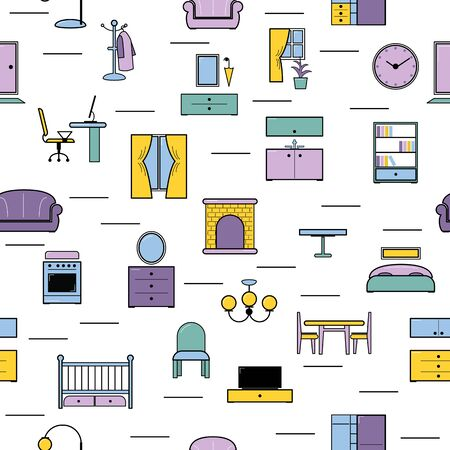 Furniture seamless pattern furnishings design in interior of bedroom or living room with sofa bed armchair and chair in furnished apartment of house illustration background