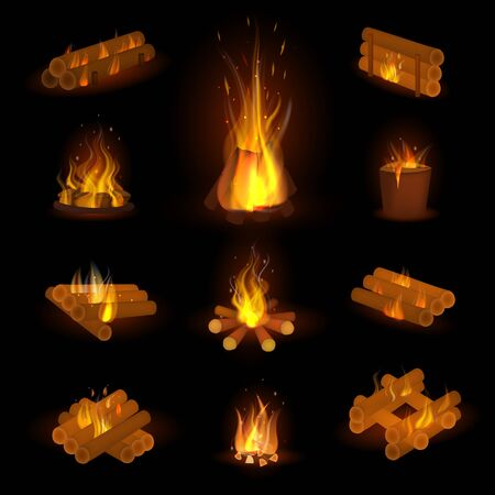 Fire flame or firewood fired flaming bonfire in fireplace and flammable campfire illustration fiery or flamy set with wildfire isolated on background