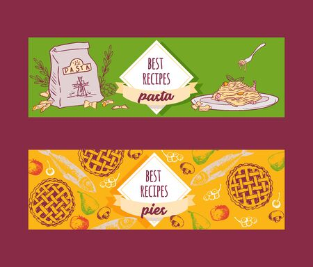 Italian cuisine pasta recipe dishes and pies vector banners set. Pasta, spaghetti, macaroni and lasagna with cheese and plum fruit pie. Sketch and cartoon banners for cafe and shops  イラスト・ベクター素材