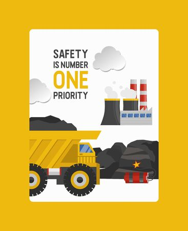Coal mining, work in the coal mine vector illustration. Various methods of coal mining and factory, transportation of fossils by trucks with safety slogan. Vettoriali
