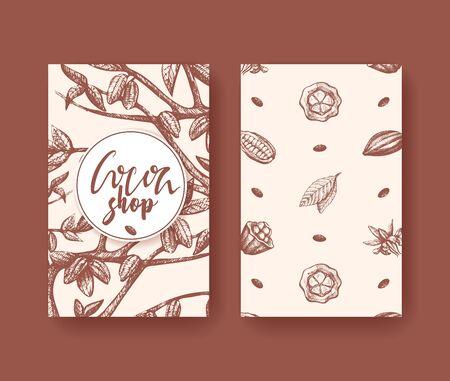 Ilustración de vector de cacao del volante de dos lados de superalimento. Grabado de frutas, hojas y frijoles. Bosquejo de alimentos saludables de choco orgánico. Envases de chocolate, pancarta de cacao, póster.