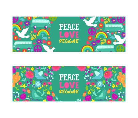 Hippie peace symbol. Peace, love, reggae music vector banner. Colorful background with white doves, rainbow, bus and flowers, symbols of love and pacificsm.