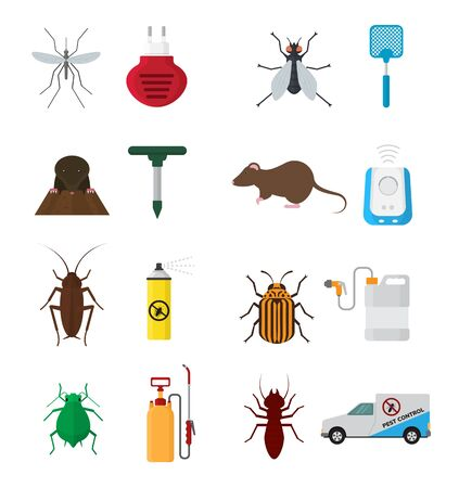 Insects control anti pest insecticide aerosol spray and chemical insecticidal sprayer for protection from bugs or mosquito illustration set isolated on white background Stock Photo
