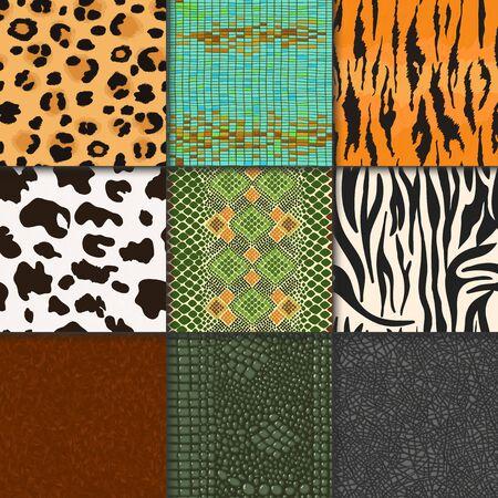 Animal skins pattern seamless animalistic skinny textured backdrop of wild skinning natural fur illustration wildlife background set Archivio Fotografico - 127230545