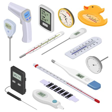 Thermometer vector tempering measurement celsius fahrenheit scale cold hot degree weather illustration isometric set of meteorology medical equipment measuring temperature isolated on white background