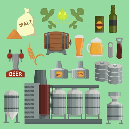 Beer brewing process factory flat style beer production keg, hops, plant opener brewing process elements. Mashing, boiling, cooling, fermentation, filtering packaging
