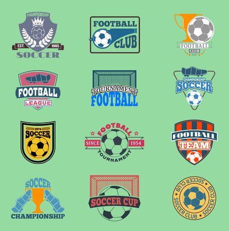 European football soccer lable embleme template team school design championship elements. Tournament icon football symbol. Team badge sport competition Stock Photo