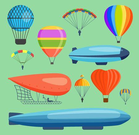 Aerostats air balloon transport sky hot fly adventure journey and old style balloon air travel transportation flight airship. Heart, rainbow, blue airship