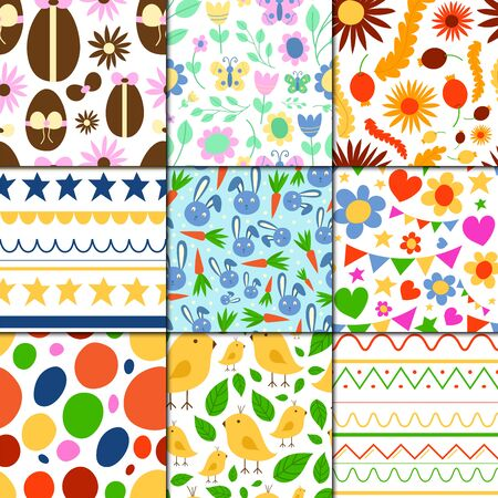 Easter seamless pattern background design holiday celebration party wallpaper greeting colorful egg fabric textile illustration. Stock Photo