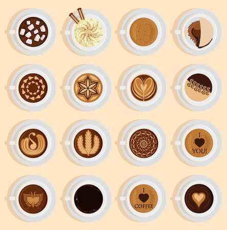 coffe top view realistic drink different coffee recipe like cappuccino, chocolate, latte on cup blackboard. Coffee cups for menu assortment top side collection aromatic beverage Archivio Fotografico - 127230591