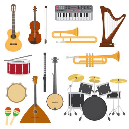 Musical instruments music concert with acoustic guitar or balalaika and musicians violin or harp illustration set wind instruments trumpet and flute isolated on white background