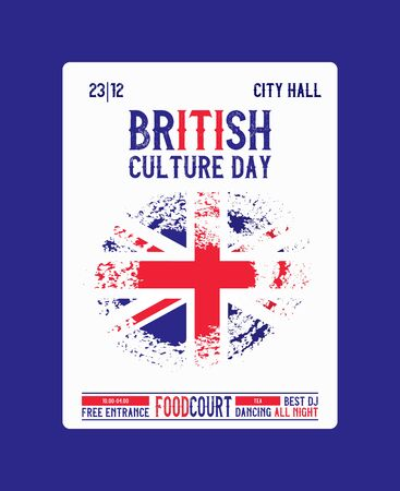 Flag of United Kingdom with brush effect and information text poster, vector illustration. Brittish culture day. Great Britain flag template design.