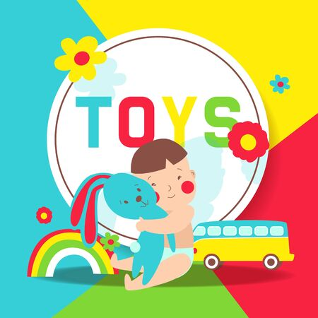 Toys and kids party in cartoon style vector illustration. Fun and play, kids game room for birthday or toyshop. Poster for childrens playroom. Stockfoto - 129453933