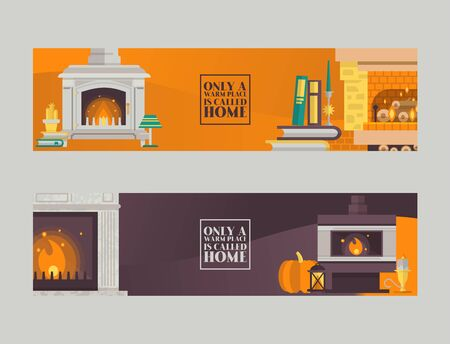 Fireplace in cozy home living room interior vector illustration. Lamps,books, pumpkin near fire place with flame burning in cartoon flat style.