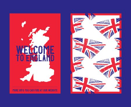 Flag of England, United Kingdom with brush stroke or paint pattern and english map vector illustration. Great Britains flags two sides banner for travel guide cover. Ilustrace