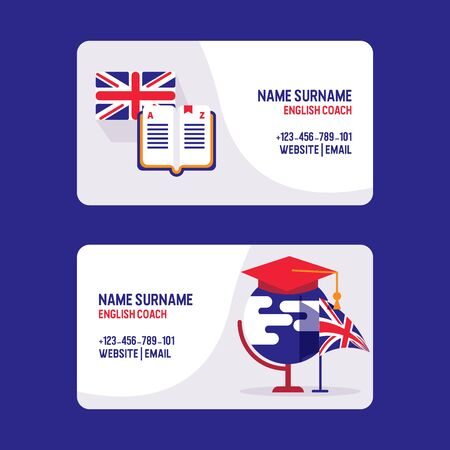 Learn English teachers vector visiting card. Educational course of foreign language. Used for studying, english lessons, coach, training. Great Britains flag, hat and dictionary icons.