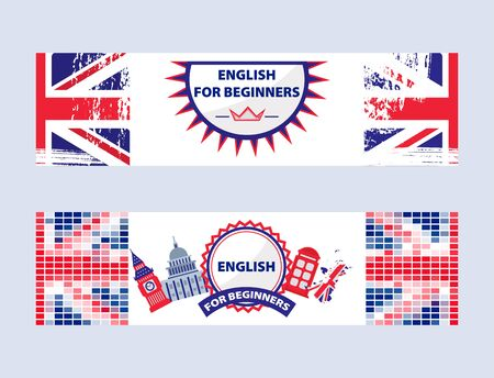 English language center online communication courses for begginers vector illustration. English language advertising composition with flag, big ben, telephone booth, symbols of England.