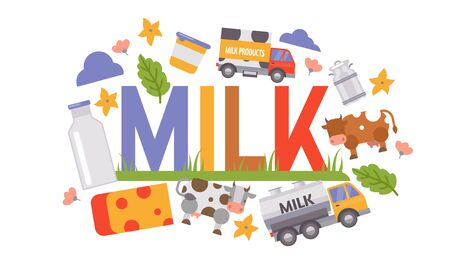 Milk and dairy production processing vector illustration. Milk delivery truck, cow, milky containers and bottle, cheese and flowers with typography. Banco de Imagens - 129453958