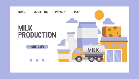 Milk products delivering vector web template. Delivery and selling milk and cheese dairy products on blue background illustration for wepages. Foto de archivo - 129453956