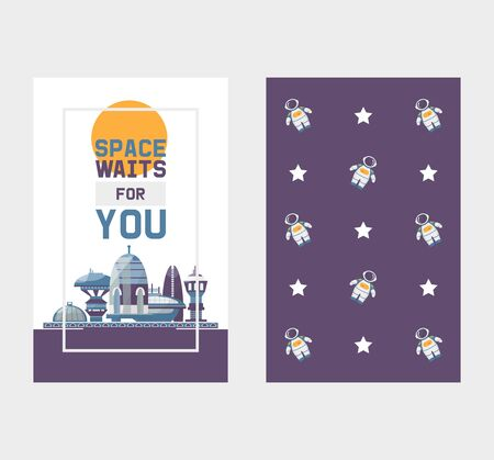 Space tourism to cosmos and space station tours vector two sides banner with pattern. Space station with spaceships tour and astronaut in open space with stars.