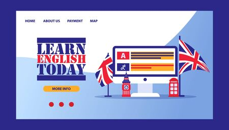 Time to learn english- british flag with computer online learning concept, vector illustration. Study and learn english course online.