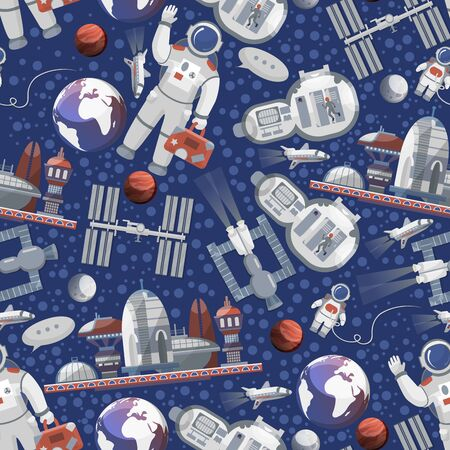 Space travelling to cosmos and exploration vector pattern. Astronaut in open cosmos, spaceships and earth planet, space station tour. Cosmic background.