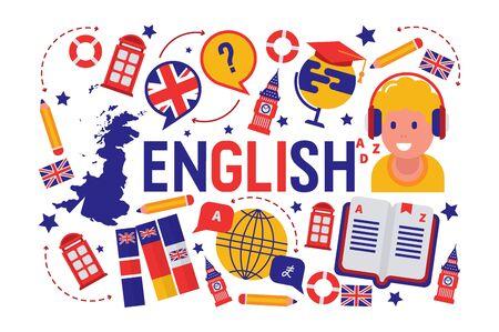 Ilustracja wektorowa klasy nauki języka angielskiego brytyjskiego. Logo flagi brytyjskiej, Anglia, słownik, Big Ben, postać z kreskówki dziewczyny w słuchawkach, program wymiany języka angielskiego. Logo