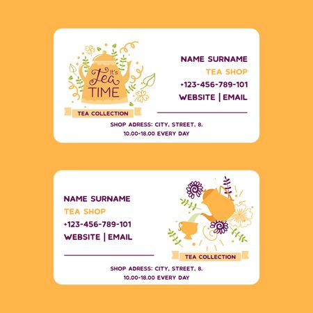 Herbal tea vector business card with teapot flowers and herbs. Design for herbal and green tea collection, drink menu, homeopathy, aromatherapy and health care teatime products. Ilustracja