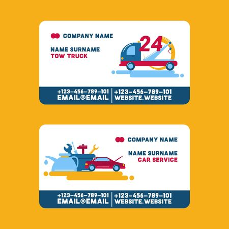 Car repair service and tow truck visiting card, vector illustration. Repairing the car, tire service, diagnostics, vehicle painting, window replacement spare parts. 24 hours cars repairment. Ilustração