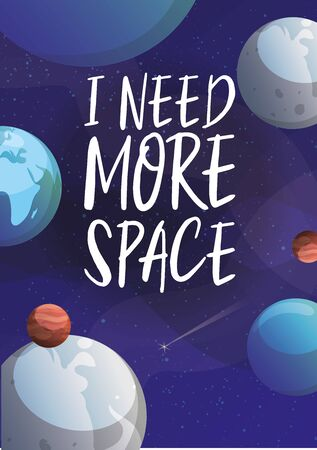 Space and planets in cosmos universe vector illustration. Cartoon background with planets, asteroids and stars and space lettering. Иллюстрация
