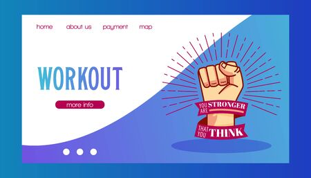 Workout and be stronger vector illustration. Strong mans fist. Sport and fitness work-out web banner, body-building workout, powerlifting, health training. Ilustração