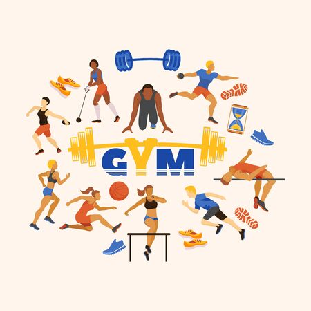 Sports in gym and sportsmen performing exercises vector illustration. Sporting runners, jumpers, athletes and disk throwing cartoon characters. Sport accessories. Ilustracja