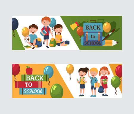 Back to school 1 september banners with boys and girls, baloons, backpack with pens and pencils and books, vector illustration. Cartoon back to school children. Ilustracja