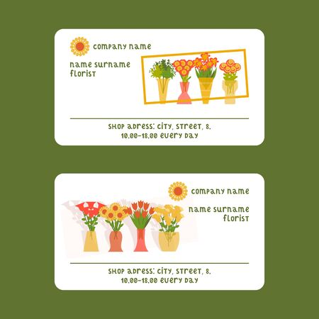 Florists and flower shop vector illustration for visiting card. Cartoon isolated flowers and plants set. Floristic compositions in pots and vases. Ilustracja