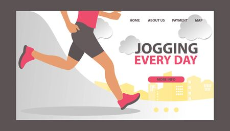 Jogging at morning and running man vector web template. Runner is engaged in fitness and active healthy lifestyle. Run and jogging every day.