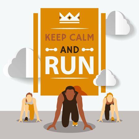 Beginnen Sie mit der Rennen-Vektor-Illustration. Laufwettbewerb. Zeichentrickfigur. Startlinie. Eine Gruppe von Athleten in Startposition mit Worten bleibt ruhig und läuft. Vektorgrafik