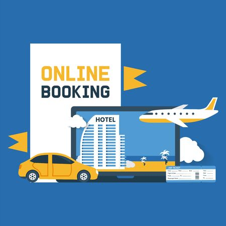 Booking online vector illustration. Electronic purchase confirmation. Hotel, resort, flight ticket or insurance reserve from distance for vacation holiday tourism trip. Book online poster.