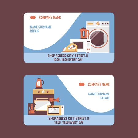 Service repairment vector visiting card. Repair of electric household appliances. Washing machine, stove, iron, kettle repairing services concept. Business card template.