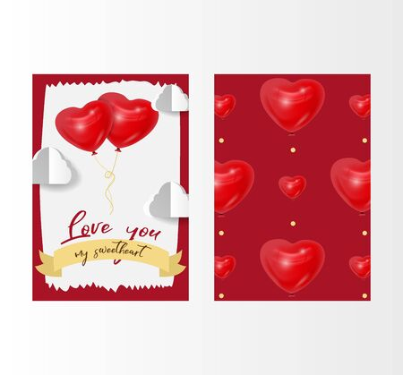 Valentines day love vector illustration with red 3d heart shape balloons and white clouds. February 14, love two sides card with pattern. Romantic wedding greeting card. Womens, Mothers day. Illustration
