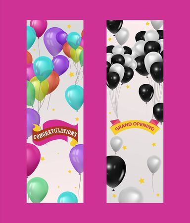 Balloons for party, grand opening event banner, vector illustration. Flying glossy colored and black and white baloons. Elements for party invitation design with copy space and congratulations.