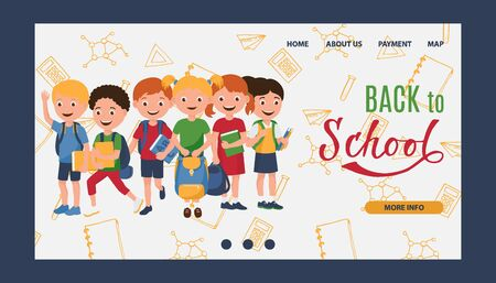 Back to school, kids learning, education vector illustration. Kids go to school with books and backpacks. Template for web, cartoon happy children with school doodles background. Banque d'images - 129454053