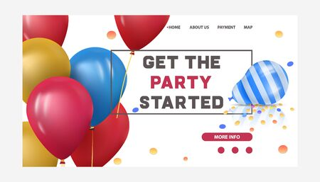 Baloons for happy birthday or celebration party vector illustration. Colored balloon decoration for holiday website template with get the party started words. Congratulation webpage. Stock Illustratie