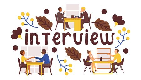 Job interview vector illustration. Candidates answers questions on job interview. Staff proffecional recruitment. Flat cartoon design. Иллюстрация