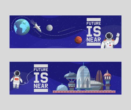 Space tourism for future vector illustrations banners. Astronomy, galaxy space flight, exploration, colonization, technology. Spaceman travelling from Earth to Moon.