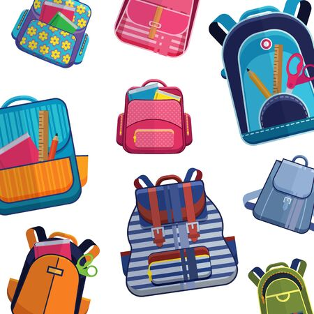 Schools backpacks or rucksacks and bags of different models and sizes vector pattern . Backdrop with colorful school backpacks on white background.