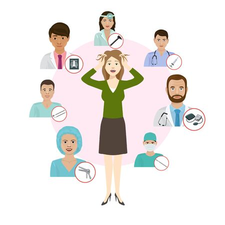 Medicne doctors proffesionals for womans deseases vector illustration. Medic staff set with medical tools icons. Medics team concept in flat design people character.